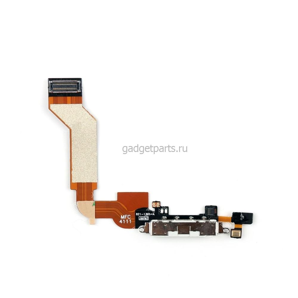 Нижний шлейф зарядки iPhone 4S Белый (White)
