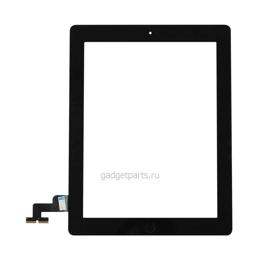Сенсорное стекло, тачскрин (в сборе с механизмом кнопки и скотчем) iPad 2 Черный (Black)