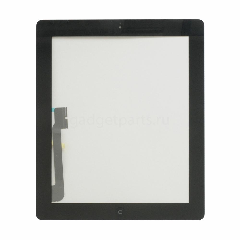 Сенсорное стекло, тачскрин (в сборе с механизмом кнопки и скотчем) iPad 3 Черный (Black)