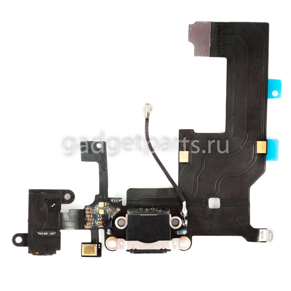 Аудио шлейф с системным разъемом iPhone 5 Черный (Black)