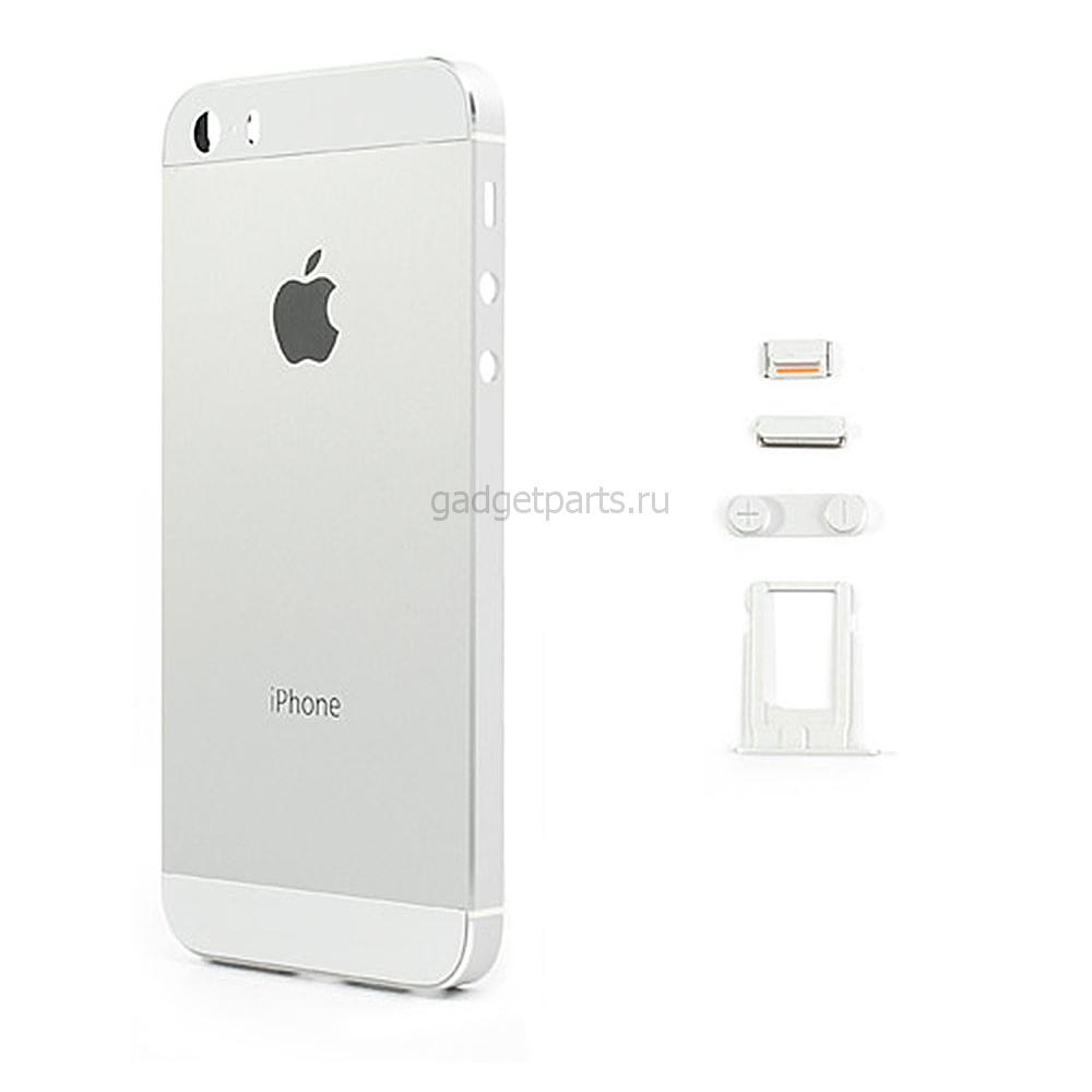 Задняя крышка iPhone 5S Серебряная, Белая (Silver, White)