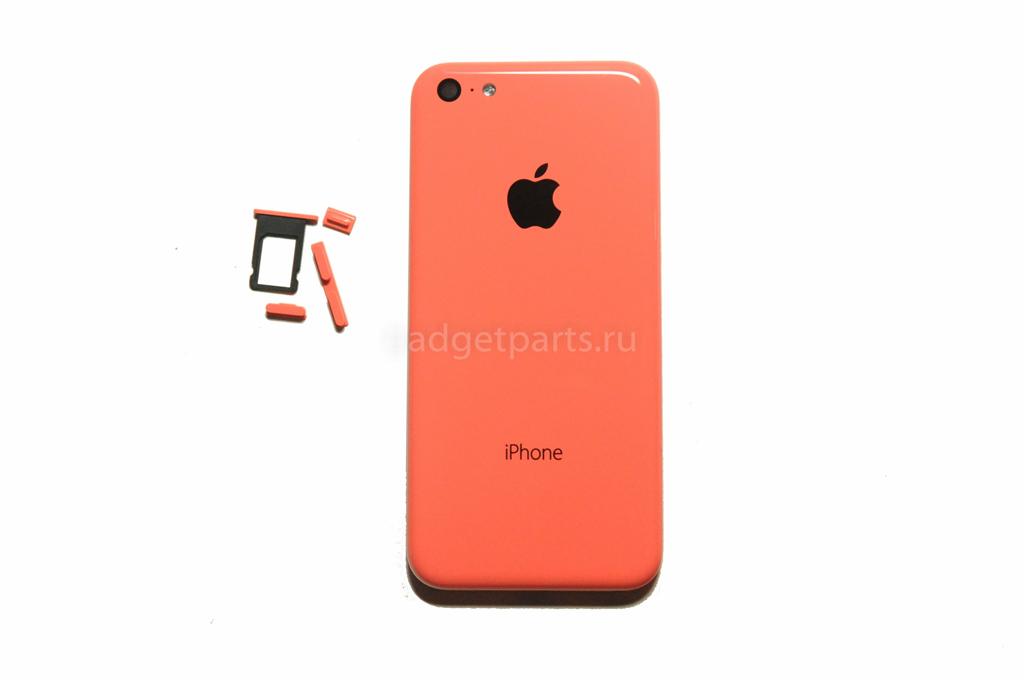 Задняя крышка (комплект кнопок, сим-лоток) iPhone 5C Розовая (Pink) Оригинал