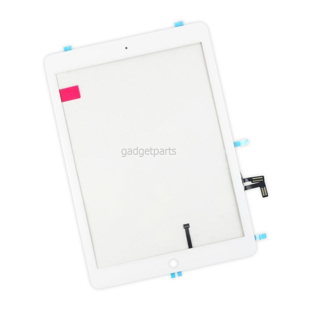 Сенсорное стекло, тачскрин (в сборе с механизмом кнопки и скотчем) iPad 5 Air Белый (White)