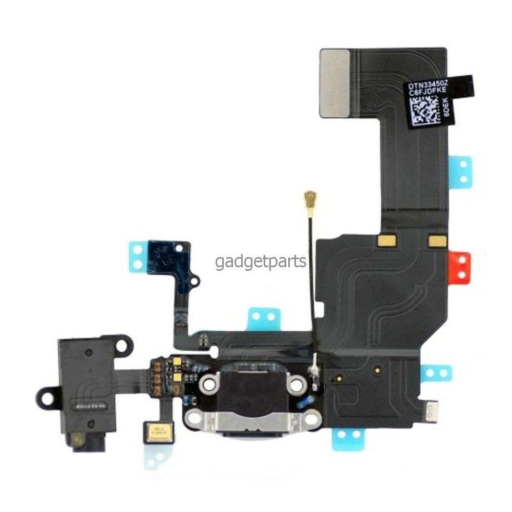 Аудио шлейф с системным разъемом iPhone 5C Черный (Black)