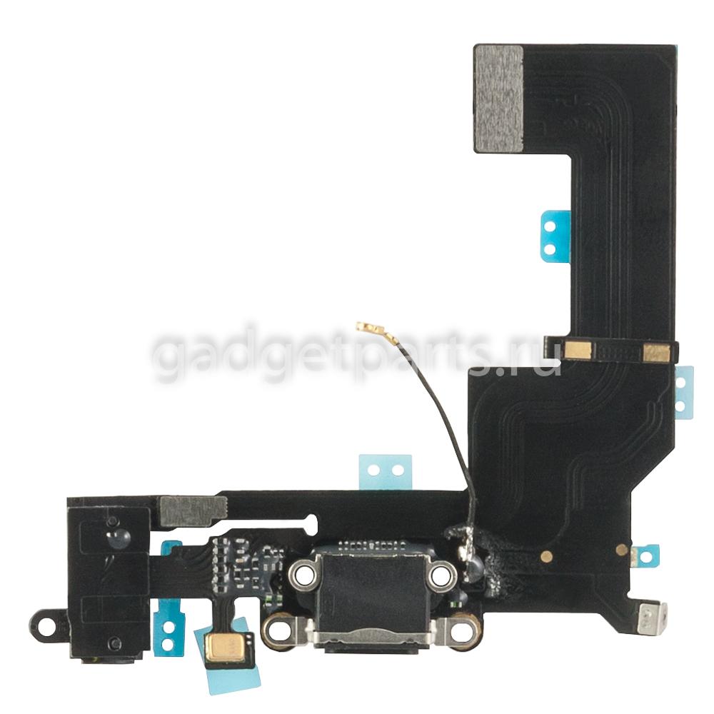 Аудио шлейф с системным разъемом iPhone 5SE Черный (Black)