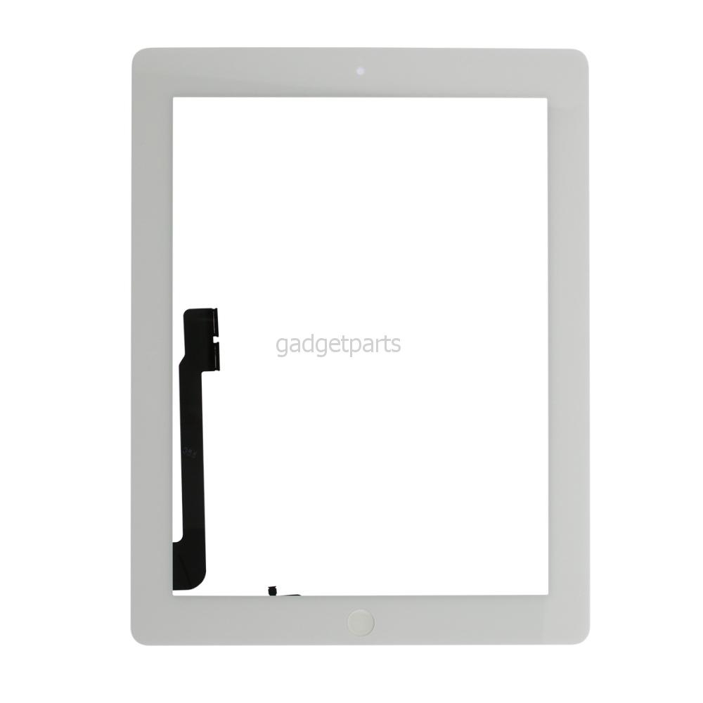 Сенсорное стекло, тачскрин (в сборе с механизмом кнопки и скотчем) iPad 3 Белый (White) Оригинал