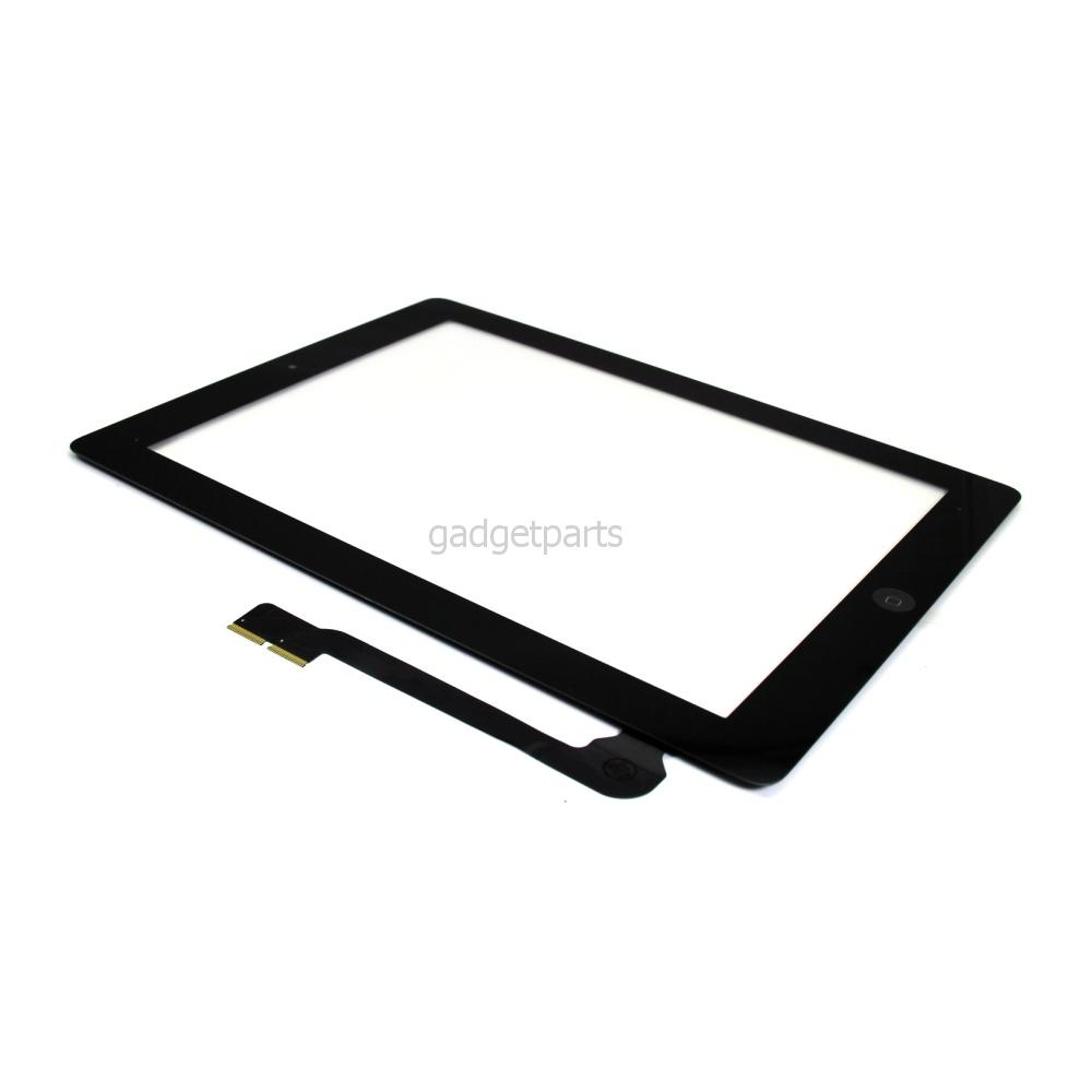 Сенсорное стекло, тачскрин (в сборе с шлейфом кнопки Home и скотчем) iPad 4 Черный (Black) Оригинал