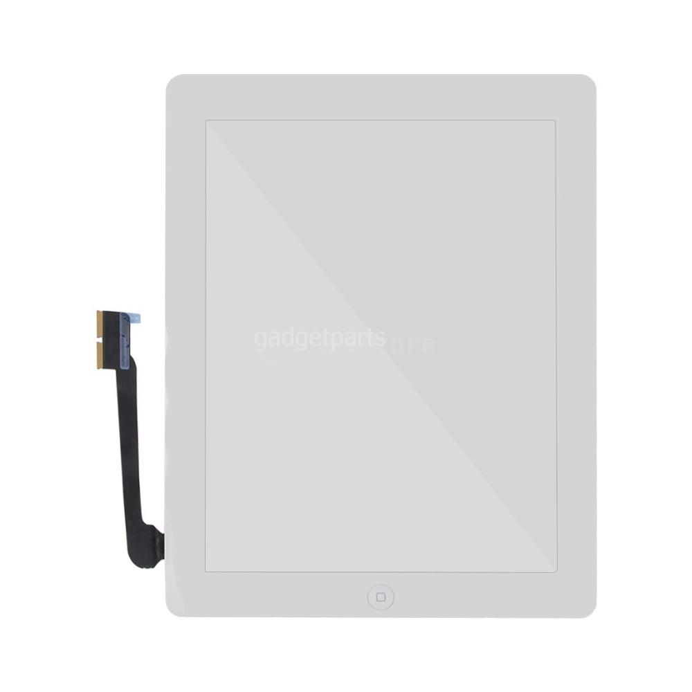 Сенсорное стекло, тачскрин (в сборе с шлейфом кнопки Home и скотчем) iPad 4 Белый (White) Оригинал