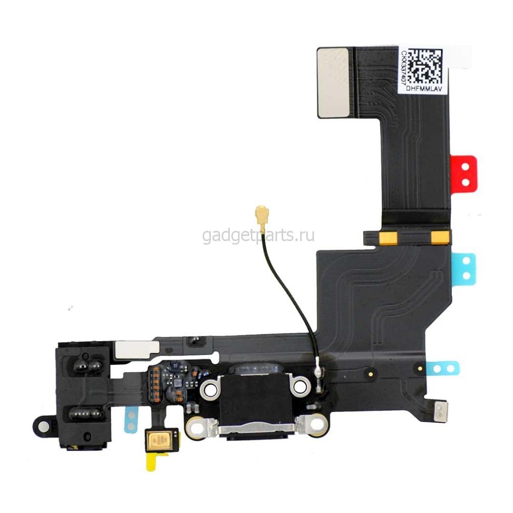 Аудио шлейф с системным разъемом iPhone 5S Черный (Black)
