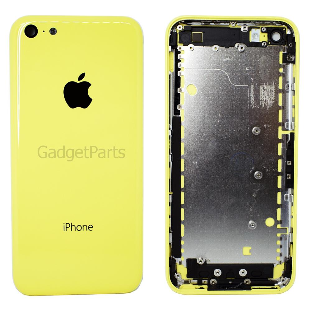 Задняя крышка (комплект кнопок, сим-лоток) iPhone 5C Желтая (Yellow) Оригинал
