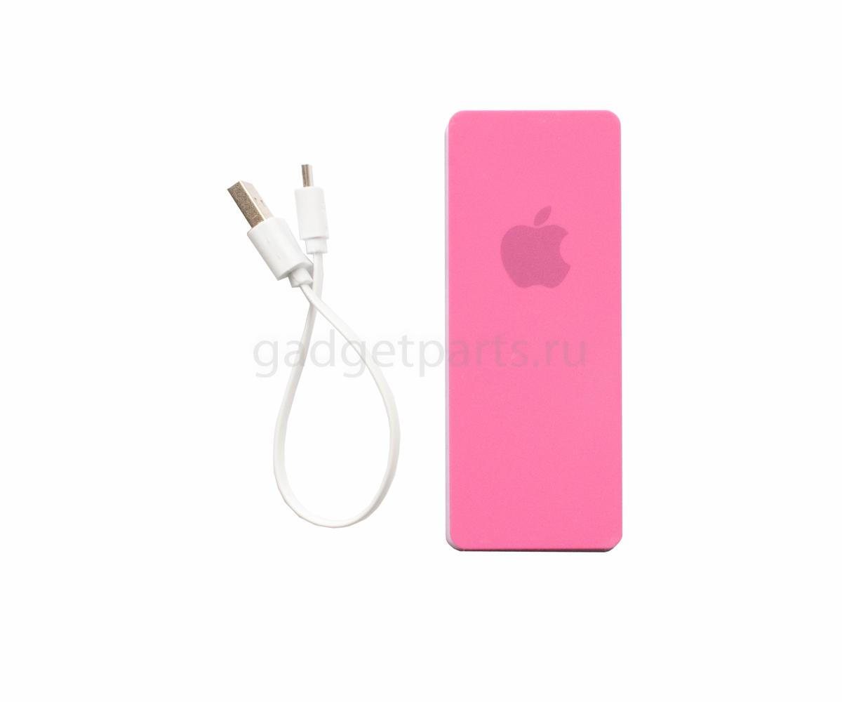 Внешний аккумулятор Power Bank с логотипом Apple 6000 mAh Розовый (Pink)
