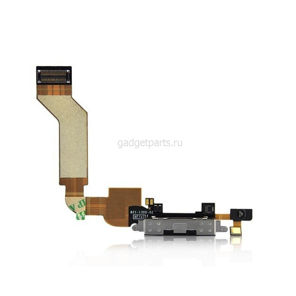 Нижний шлейф зарядки iPhone 4S Черный (Black) Оригинал