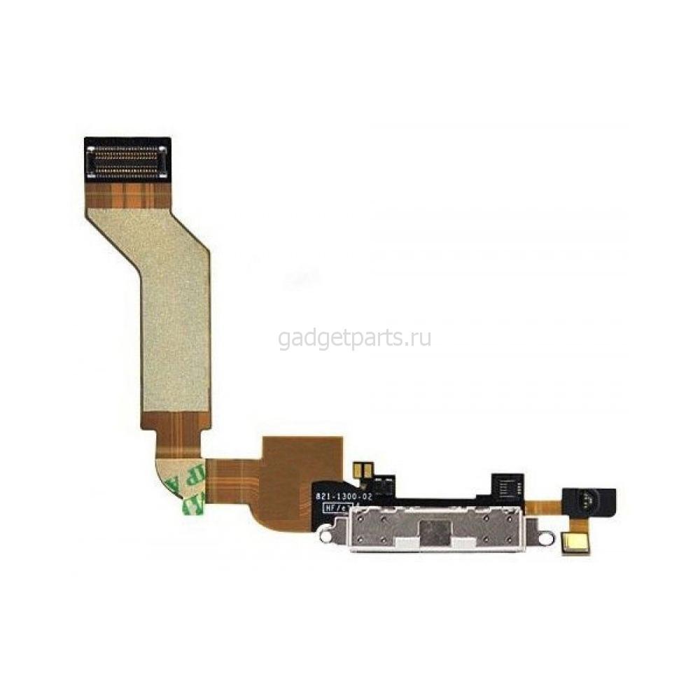 Нижний шлейф зарядки iPhone 4S Белый (White) Оригинал