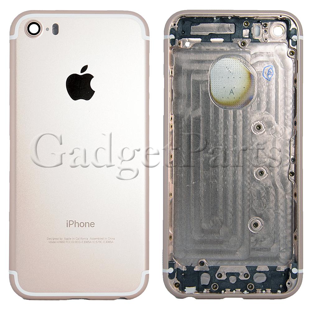 Задняя крышка iPhone 5S под iPhone 7 Розовое золото (Rose gold)