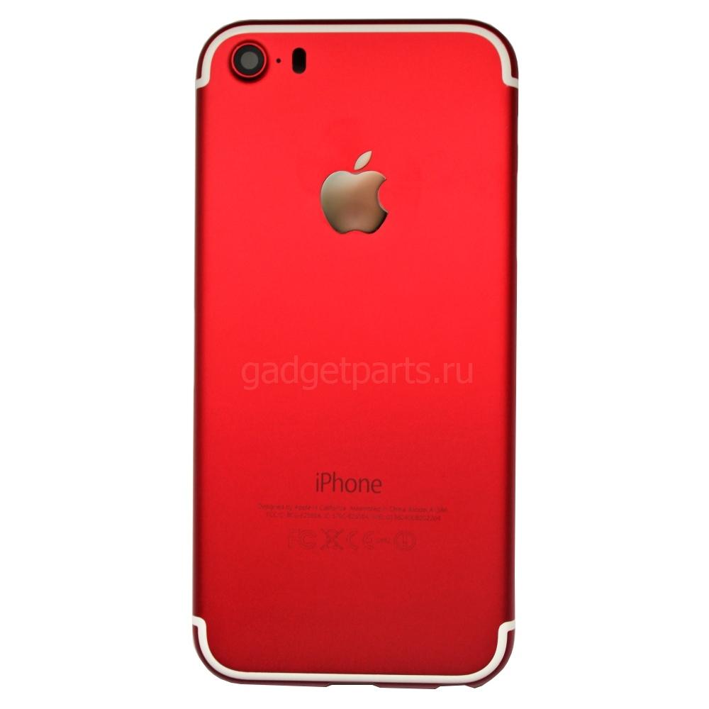 Задняя крышка iPhone 5S под iPhone 7 Красная (Red)