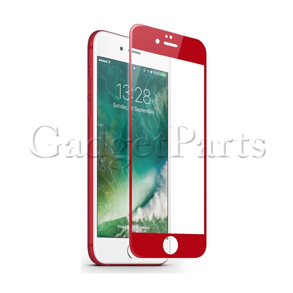 Защитное противоударное стекло 3D iPhone 7, 8 Красное (Red)