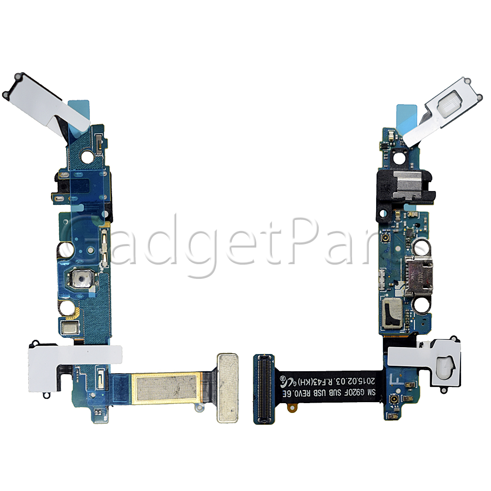 Нижний шлейф с системным разъемом, аудио разъемом, микрофоном, шлейфом на сенсорные кнопки, шлейфом кнопки Home Samsung Galaxy S6, G920F