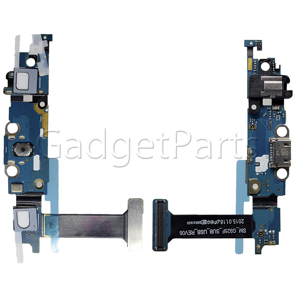 Нижний шлейф с системным разъемом, аудио разъемом, микрофоном, шлейфом кнопки Home Samsung Galaxy S6 Edge, G925F