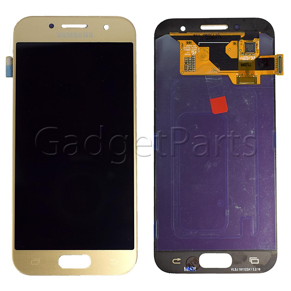 Модуль (дисплей, тачскрин) Samsung Galaxy A3 2017, A320F Золотой (Gold) Оригинал